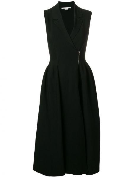 Расклешенное черное платье миди без рукавов Stella Mccartney