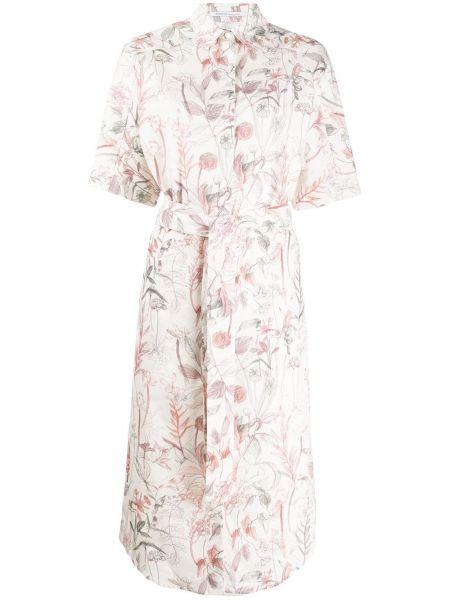 Шелковое платье миди - белое Agnona