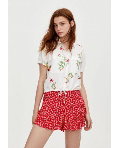 Блузка с коротким рукавом белая весенний Pull&bear