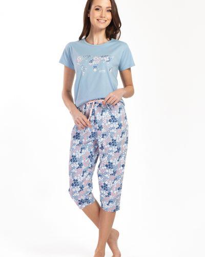 Niebieska piżama bawełniana krótki rękaw Envie