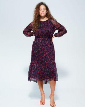 Платье миди с цветочным принтом приталенное Mango