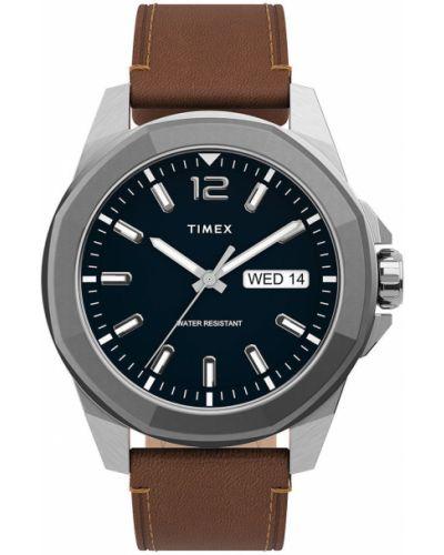Niebieski zegarek kwarcowy skórzany z paskiem Timex