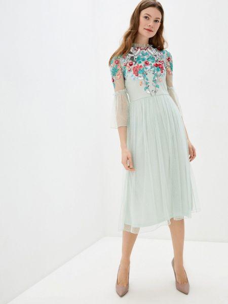 Вечернее платье бирюзовый весеннее Frock And Frill