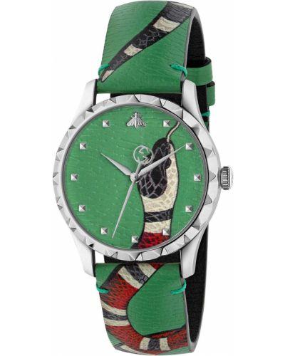 Зеленые кожаные часы Gucci