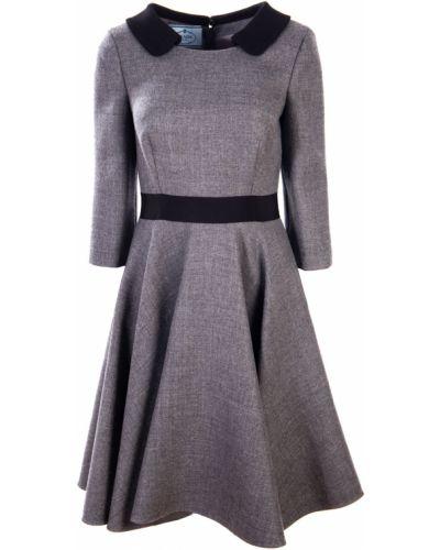 Расклешенное приталенное повседневное платье с воротником на молнии Prada