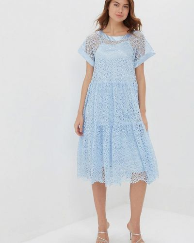 Вечернее платье голубой весеннее мадам т