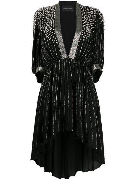 Черное асимметричное платье мини с V-образным вырезом с жемчугом Christian Pellizzari