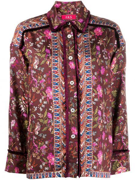Шелковая классическая рубашка с воротником на пуговицах с бахромой F.r.s. For Restless Sleepers