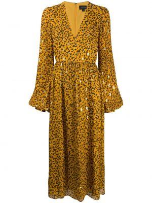 Расклешенное приталенное шелковое платье миди на молнии Saloni