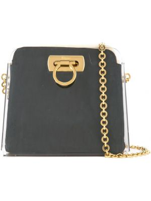 Золотистая черная нейлоновая кожаная сумка Salvatore Ferragamo Pre-owned