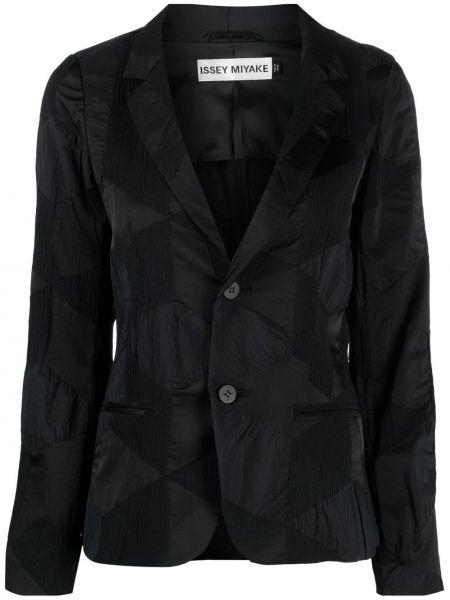 Однобортный черный удлиненный пиджак на пуговицах Issey Miyake