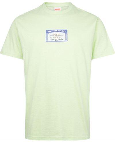 Zielona t-shirt bawełniana krótki rękaw Supreme