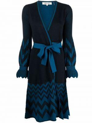 Niebieska sukienka długa z długimi rękawami Dvf Diane Von Furstenberg
