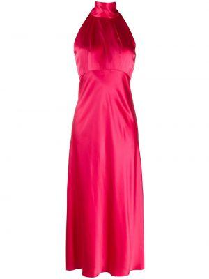 Расклешенное шелковое розовое платье миди на молнии Saloni