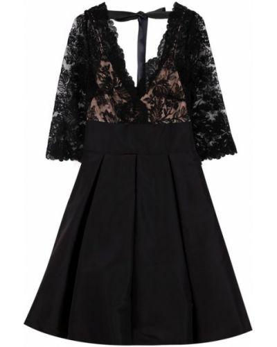 Платье мини в рубчик с V-образным вырезом Oscar De La Renta