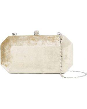Золотистая бежевая шелковая сумка на цепочке с карманами Tyler Ellis