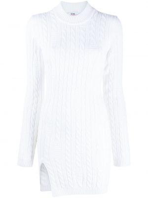 Шерстяное с рукавами белое платье мини Gcds