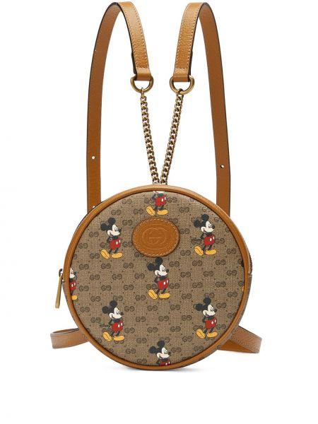 Skórzany plecak z płótna brązowy Gucci