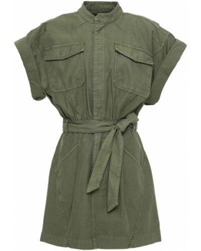 Армейское хлопковое зеленое платье мини Frame