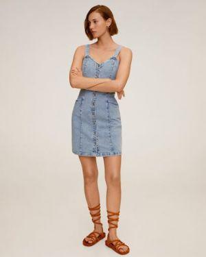 Джинсовое платье в стиле бохо на пуговицах Mango