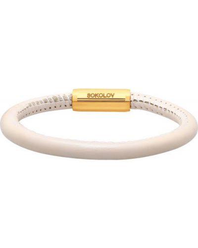 Золотой браслет кожаный серебряный Sokolov