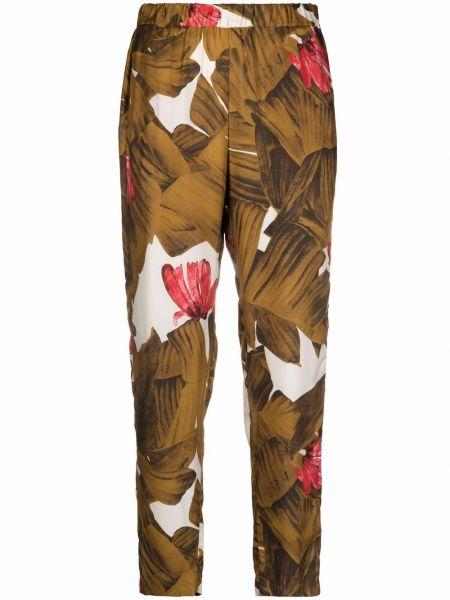 Коричневые шелковые брюки с карманами с принтом Diega