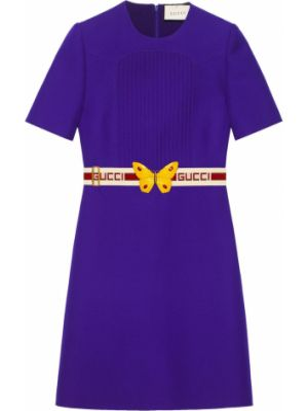 Платье мини с поясом на молнии Gucci