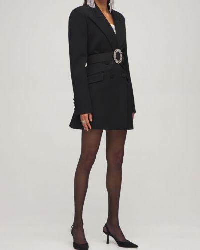 Шерстяной черный пиджак с поясом Giuseppe Di Morabito