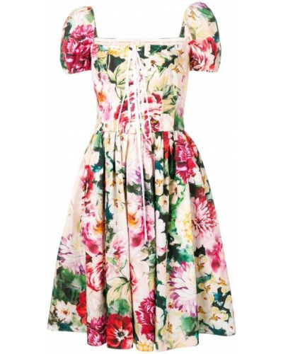 Платье с поясом розовое с цветочным принтом Dolce & Gabbana