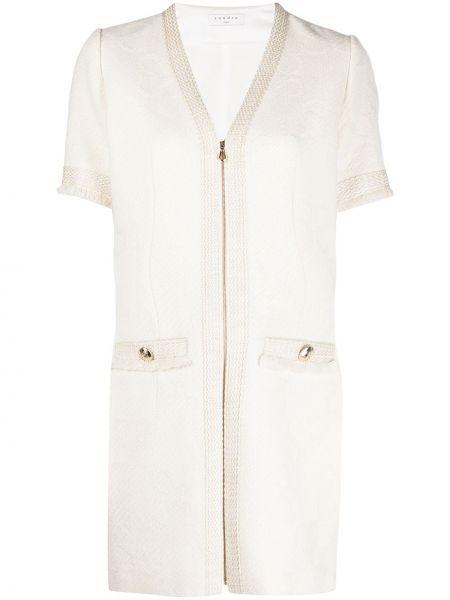 Шерстяное с рукавами платье мини с вырезом Sandro Paris