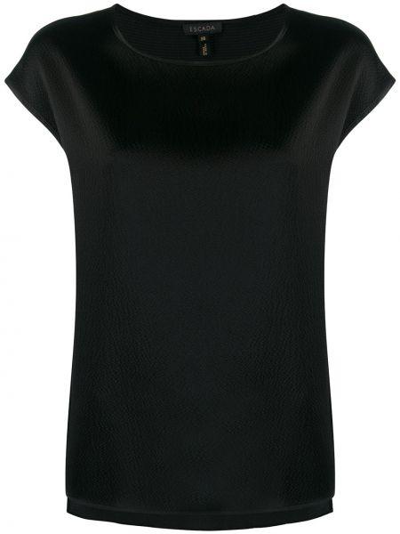 Czarna bluzka krótki rękaw z jedwabiu Escada