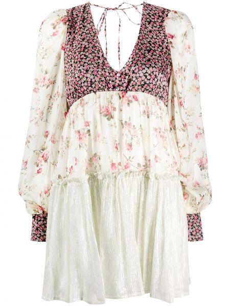 Платье с цветочным принтом с V-образным вырезом Wandering