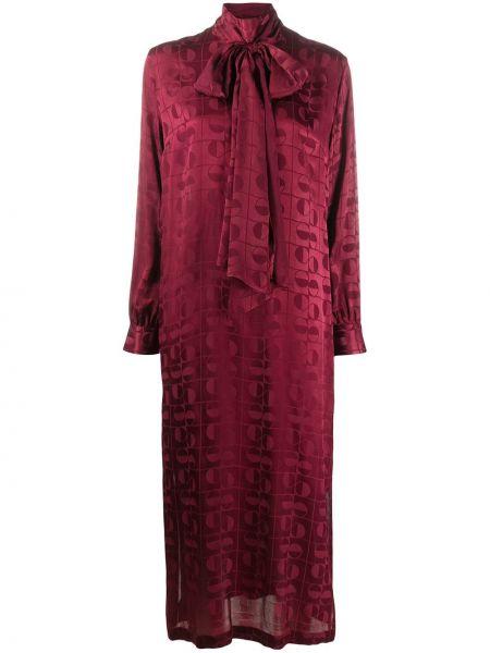 Красное шелковое платье миди на пуговицах свободного кроя Ports 1961