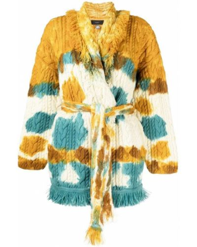 Синее шерстяное длинное пальто с лацканами Alanui