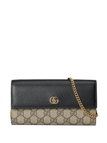 Czarny skórzany portfel z kieszeniami z gniazdem Gucci