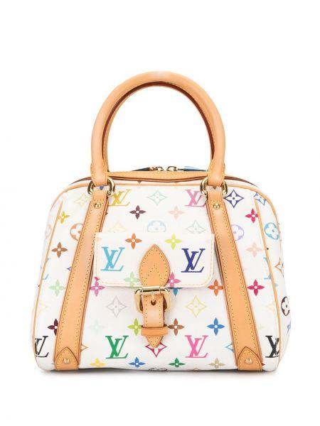 Белая кожаная сумка с ручками круглая Louis Vuitton