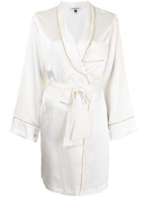 Белый шелковый халат с запахом Gilda & Pearl