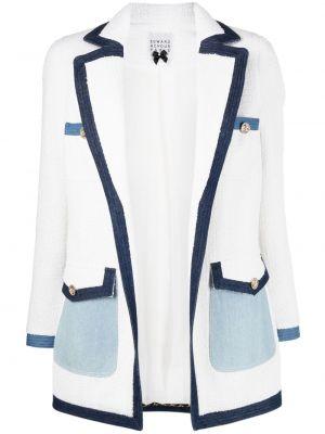Шерстяной белый удлиненный пиджак на пуговицах Edward Achour Paris