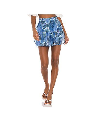 Синяя юбка мини с поясом Loveshackfancy