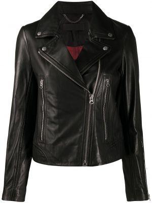 Черная кожаная длинная куртка байкерская Rag & Bone