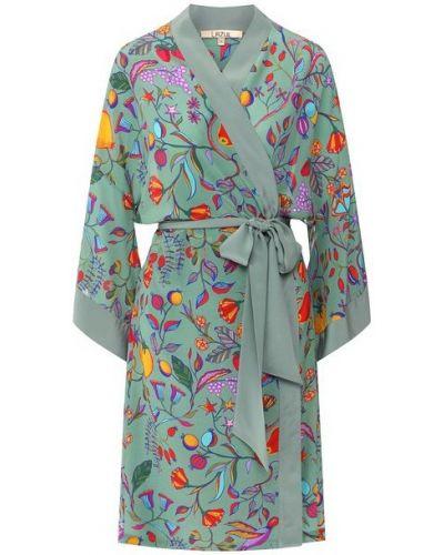 С рукавами шелковый халат с поясом Lazul
