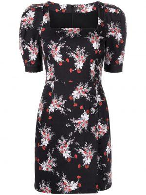Платье мини в цветочный принт - черное Adam Lippes