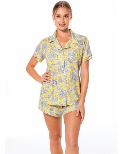 Блузка с коротким рукавом прямая желтый Dorina