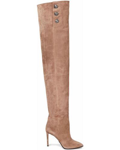 Замшевые ботильоны - коричневые Balmain