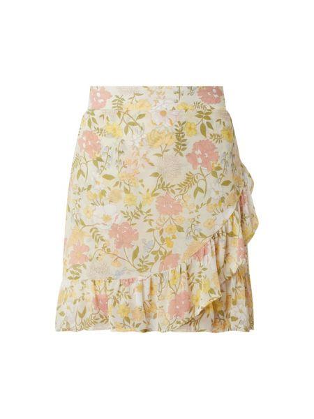 Beżowa spódnica mini z falbanami rozkloszowana Vila