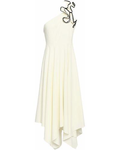 Бежевое платье миди из крепа на крючках Halston Heritage