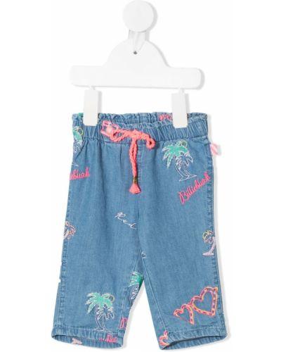 Niebieskie jeansy bawełniane z printem Billieblush