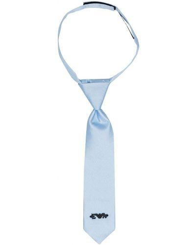 Синий шелковый галстук с вышивкой Emporio Armani Kids