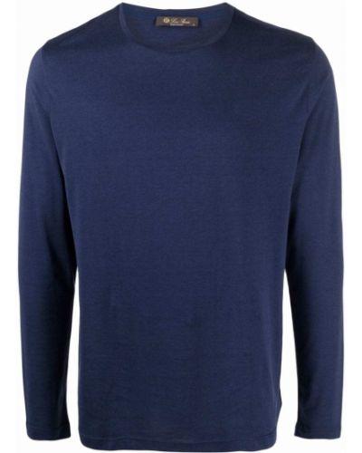 Niebieski top z długimi rękawami bawełniany Loro Piana