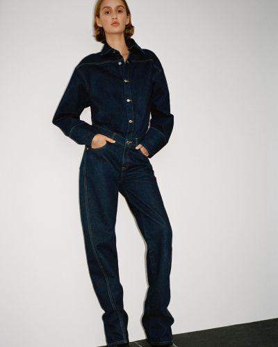 Синий джинсовый джинсовый комбинезон Zara